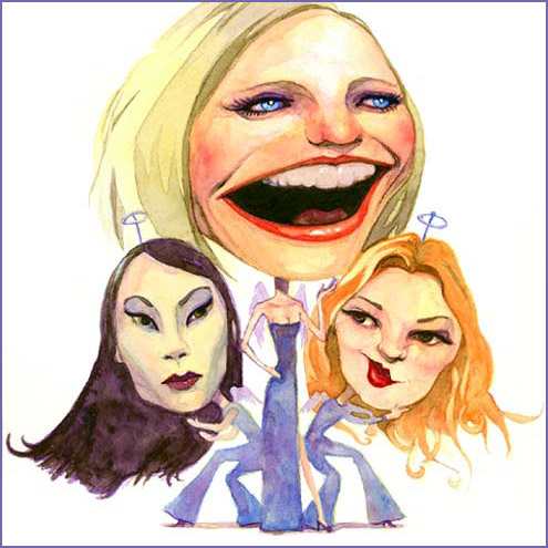 caricatures of lucy liu, cameron diaz, and drew barrymore